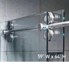 Roller System – 59W x 64H Frameless Sliding Shower Door – Low iron Ultra-Clear Glass