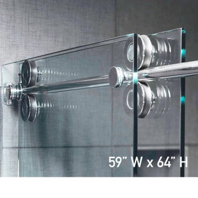 Roller System – 59W x 64H Frameless Sliding Shower Door – Clear Glass