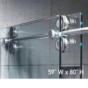 Roller System – 59W x 80H Frameless Sliding Shower Door – Low iron Ultra-Clear Glass
