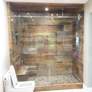 Roller System – 59W x 76H Frameless Sliding Shower Door – Clear Glass