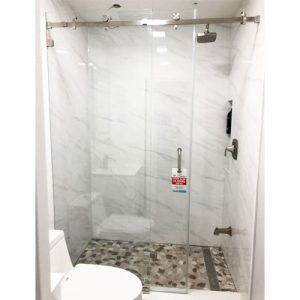 Serenity System – 59W x 72H Frameless Sliding Shower Door – Clear Glass