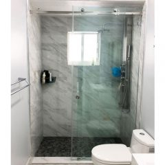 Serenity System – 59W x 80H Frameless Sliding Shower Door – Clear Glass