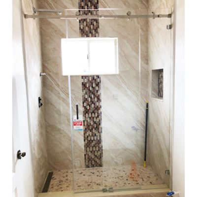 Serenity System – 59W x 76H Frameless Sliding Shower Door – Clear Glass