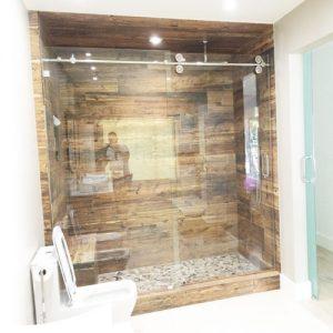Roller System – 59W x 76H Frameless Sliding Shower Door – Low iron Ultra-Clear Glass