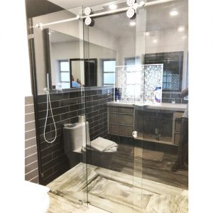 Roller System – 59W x 72H Frameless Sliding Shower Door – Low iron Ultra-Clear Glass