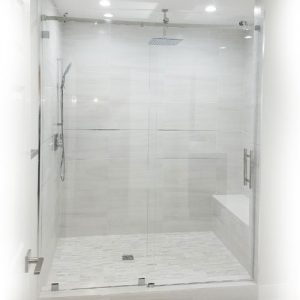 Serenity System – 59W x 84H Frameless Sliding Shower Door – Low iron Ultra-Clear Glass