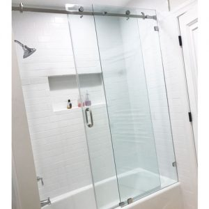 Serenity System – 59W x 60H Frameless Sliding Shower Door – Low iron Ultra-Clear Glass