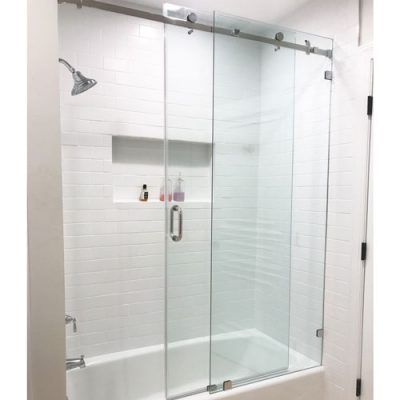 Serenity System – 59W x 64H Frameless Sliding Shower Door – Low iron Ultra-Clear Glass