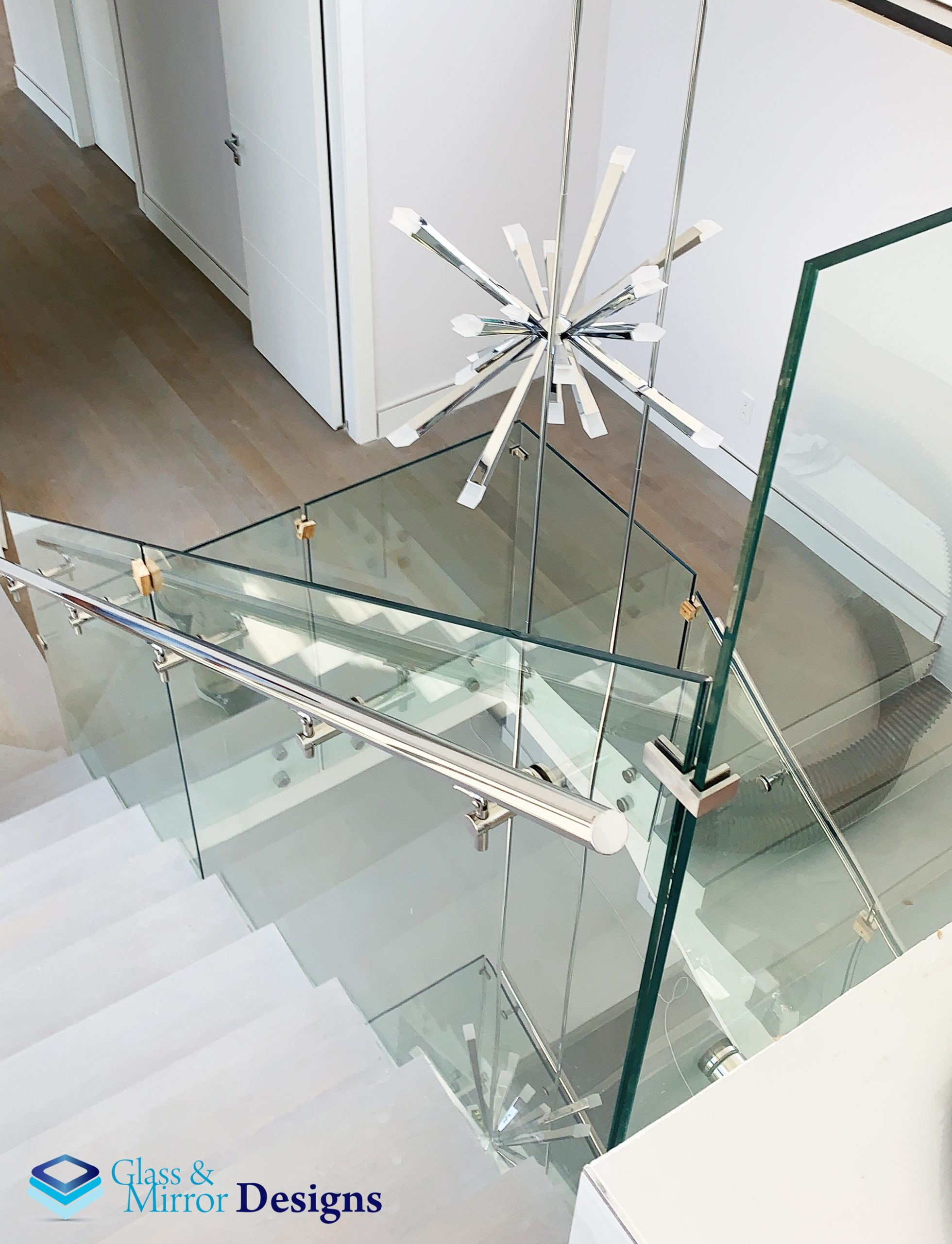 Glass Railing with Standoff System - handrail on the side ...