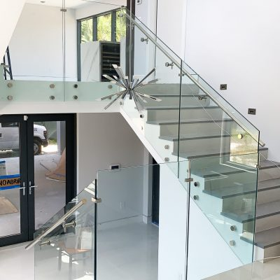 Glass Railing with Standoff System – handrail on the side – Laminated Clear Glass