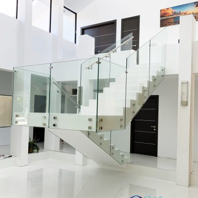 Glass Railing with Standoff System – handrail on the side – Tempered Clear Glass