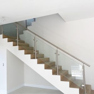 Glass Railing with Post System – handrail on top – Laminated Clear Glass
