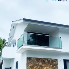 Glass Railing with Base shoe System – handrail on the top – Laminated Clear Glass